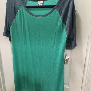Lularoe Julia XL mint green dress denim color slvs